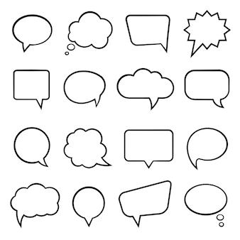 Ilustración de vector de burbujas de discurso vacío en blanco