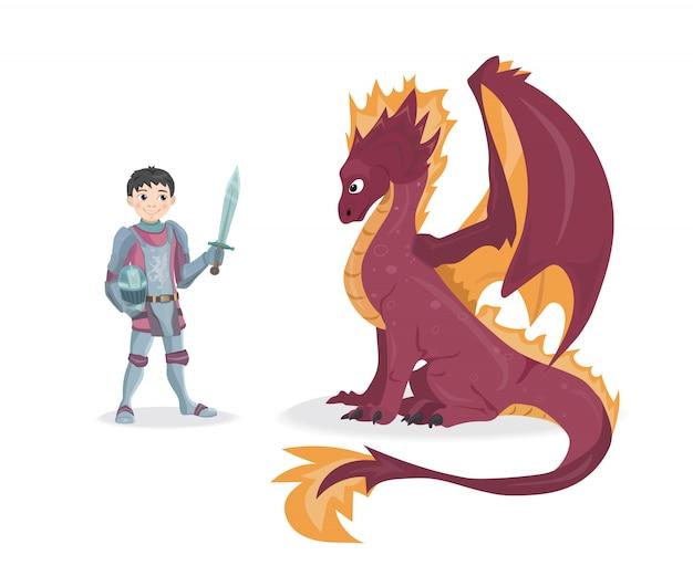 Ilustración de vector de caballero y dragón