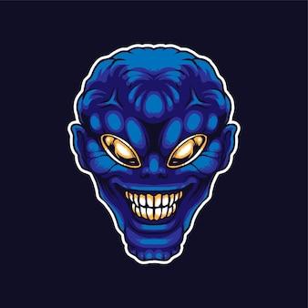 Ilustración de vector de cabeza alienígena, adecuada para productos de camiseta, impresión y mercancía