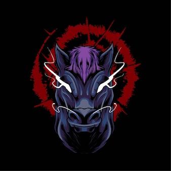 Ilustración de vector de cabeza de caballo. adecuado para camisetas, estampados y prendas de vestir.