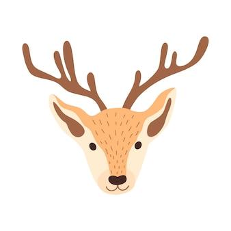 Ilustración de vector de cabeza de ciervo en estilo plano. ciervos del bosque para el diseño de navidad, año nuevo, pegatinas, carteles, invitaciones, tarjetas de felicitación.