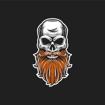 Ilustración de vector de cabeza de cráneo de barba