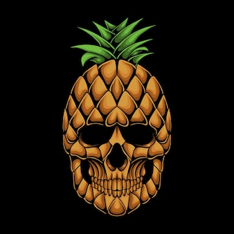 Ilustración de vector de cabeza de cráneo de piña