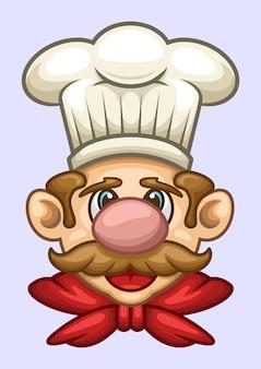 Ilustración de vector de cabeza de dibujos animados de chef
