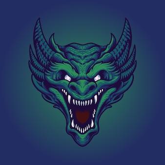 Ilustración de vector de cabeza de dragón verde