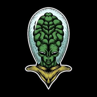 Ilustración de vector de cabeza grande extraterrestre