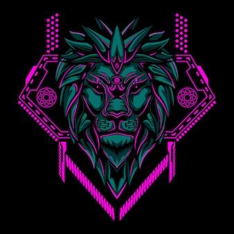 Ilustración de vector de cabeza de león geometría