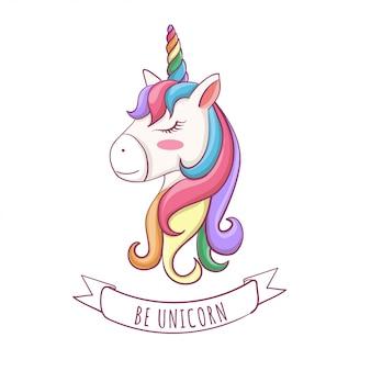 Ilustración de vector de cabeza linda unicornio con arco iris de pelo.