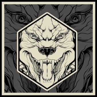 Ilustración de vector cabeza de mascota pitbull enojado
