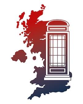 Ilustración de vector de cabina de teléfono de mapa de reino unido