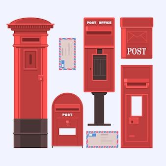 Ilustración de vector de cajas de correo conjunto. caja de correos inglés vintage.