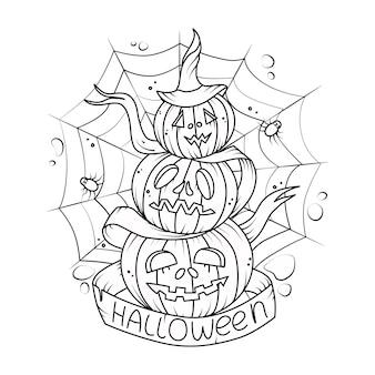 Ilustración de vector con calabazas. para decoraciones de halloween. libro de colorear.