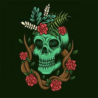 Ilustración de vector de calavera y rosas