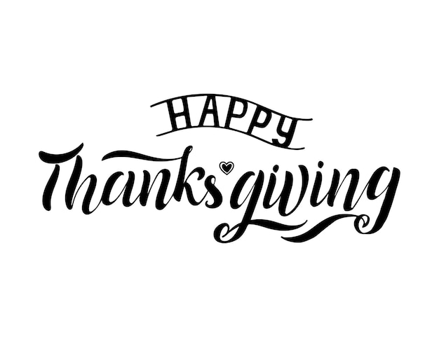 Ilustración de vector de caligrafía letras de mano de cepillo de acción de gracias feliz, aislado sobre fondo blanco. diseño vectorial de tipografía para tarjetas de felicitación y carteles, celebración de plantilla de diseño.