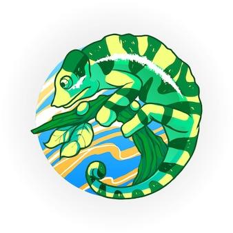 Ilustración de vector de camaleón. adecuado para camisetas, estampados y prendas de vestir.