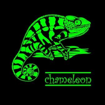 Ilustración de vector de camaleón verde