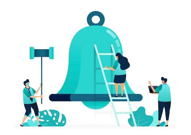 Ilustración de vector de campanas de alarma para notificaciones y aplicaciones. sosteniendo un martillo para golpear las campanas. grupo de trabajadores y trabajadoras. diseñado para sitio web, web, página de destino, aplicaciones, ui ux, póster, folleto
