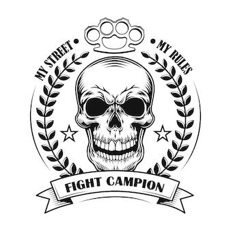 Ilustración de vector de campeón de lucha callejera. cráneo del ganador del concurso con decoración de premio y texto.