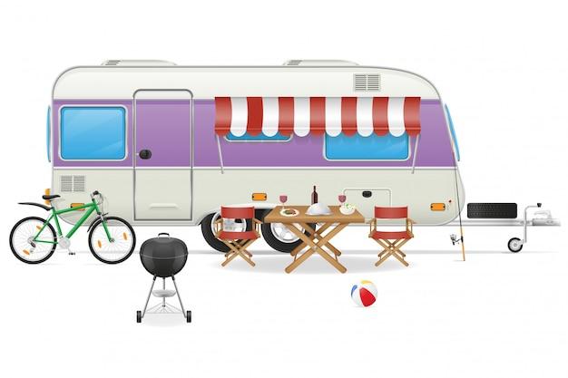 Ilustración de vector de caravana campamento de remolque