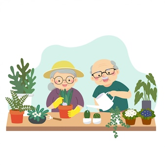 Ilustración de vector de una caricatura feliz pareja de ancianos jardinería y riego de plantas en casa.