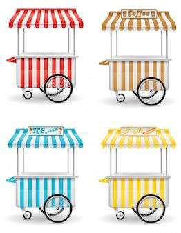 Ilustración de vector de carrito de comida callejera