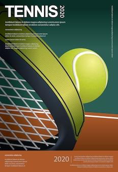 Ilustración del vector del cartel del campeonato de tenis