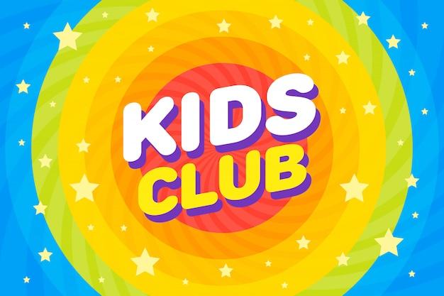 Ilustración de vector de cartel de carta de club de niños en arco iris