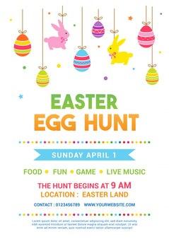Ilustración del vector del cartel de la caza del huevo de pascua
