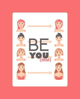 Ilustración de vector de cartel de cirugía plástica corrección facial y corporal. consulta médica. aumento de mamas, liposucción, cosmetología facial y corporal. cirugía de belleza y salud