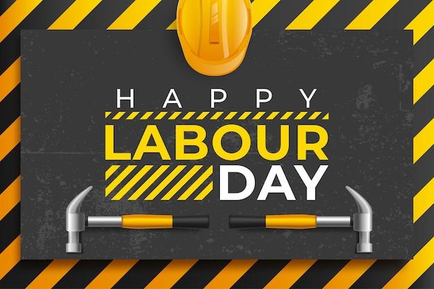 Ilustración de vector de cartel del día del trabajo con herramientas de construcción