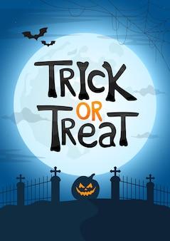 Ilustración de vector de cartel de halloween con texto de truco o trato