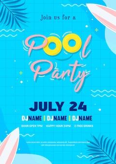 Ilustración de vector de cartel de invitación de fiesta de piscina. vista superior de la piscina con tabla de surf flotante.