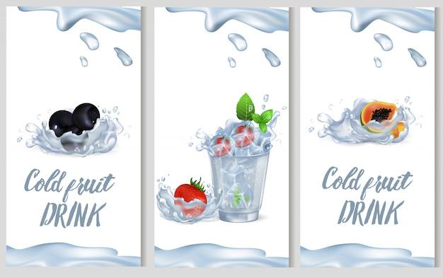 Ilustración de vector de cartel de promoción de bebida de fruta fría