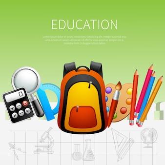 Ilustración de vector de cartel realista de educación con mochila escolar calculadora transportador pinturas pincel bolígrafos iconos decorativos ilustración vectorial