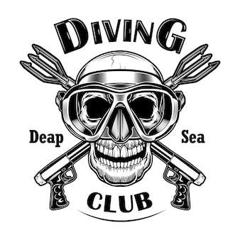 Ilustración de vector de cazador submarino. cráneo en máscara con pistolas paralizantes cruzadas, texto de aguas profundas. concepto de actividad junto al mar para emblemas del club de buceo.
