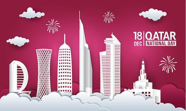 Ilustración de vector de celebración del día nacional de qatar 18 de diciembre con el horizonte de la ciudad