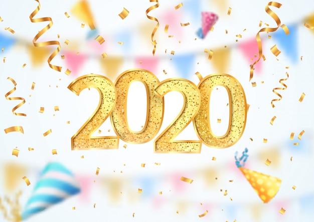 Ilustración de vector de celebración de feliz año nuevo 2020. banner de navidad con efecto de desenfoque