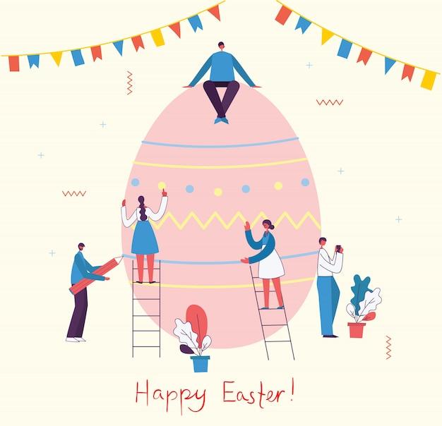 Ilustración de vector de celebración y preparación para el día de pascua con toda la familia, amigos. evento callejero de pascua, festival y feria, pancarta, diseño de carteles en el diseño plano