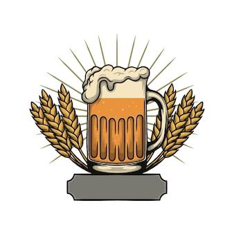 Ilustración de vector de cerveza en un vaso oktoberfest