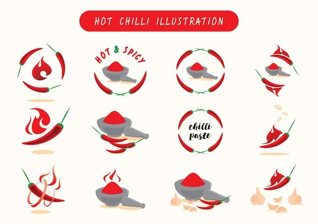 Ilustración de vector de chiles calientes