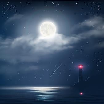 Ilustración de vector de cielo nublado nocturno con estrellas, luna y mar con faro