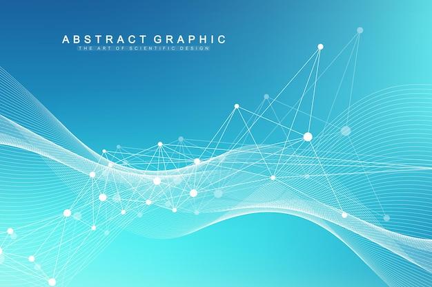 Ilustración de vector científico concepto de manipulación genética y manipulación genética. hélice de adn, hebra de adn, molécula o átomo, neuronas. estructura abstracta para ciencia o antecedentes médicos. flujo de olas.