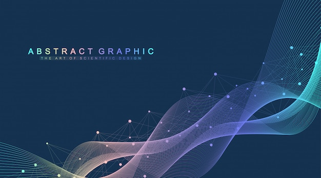 Ilustración de vector científico ingeniería genética y concepto de manipulación genética. hélice de adn, cadena de adn, molécula o átomo, neuronas. estructura abstracta para la ciencia o antecedentes médicos. flujo de onda