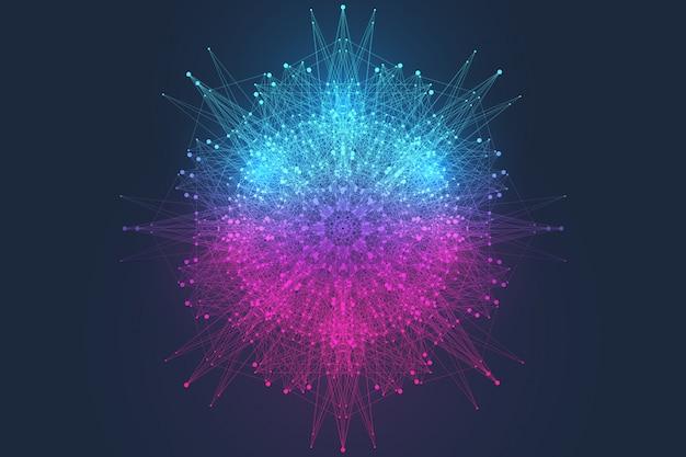 Ilustración de vector científico tecnología informática cuántica.