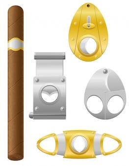 Ilustración de vector de cigarro y cortador