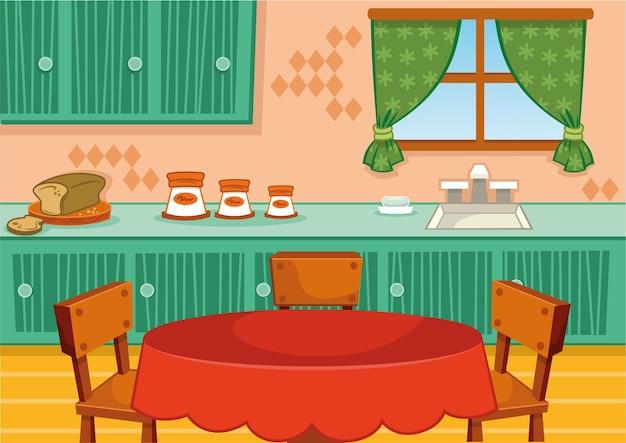 Ilustración de vector de cocina de dibujos animados