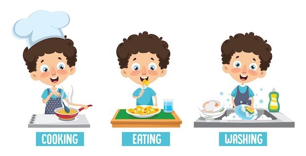 Ilustración de vector de cocinar niños