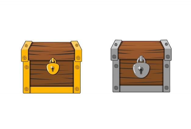 Ilustración de vector de un cofre. caja antigua cerrada. ataúd misterioso de madera.