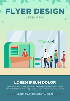 Ilustración de vector de cola de aeropuerto. línea de turistas de pie en el mostrador de facturación. los pasajeros del vuelo esperando para embarcar en el avión en la zona de salida