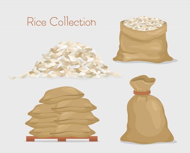 Ilustración de vector de colección de arroz. bolsas con arroz, paquete, granos de arroz en estilo plano.